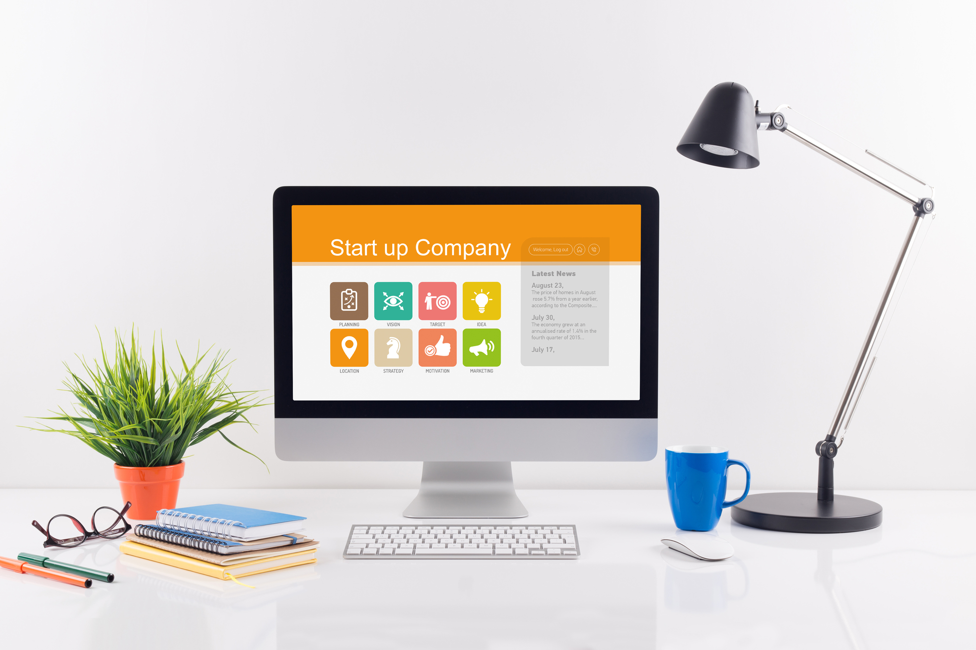 Start up Company screen on the workplace