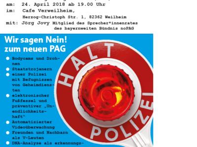 noPAG Flyer für 24.4.2018 Weilheim